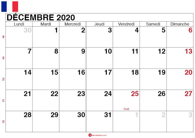 calendrier decembre 2020 France