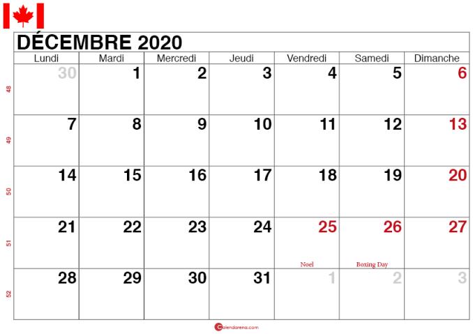 calendrier decembre 2020 quebec