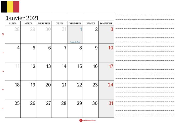calendrier janvier 2021 belgique_notesL