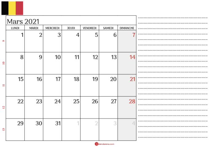 calendrier mars 2021 belgique_notesL