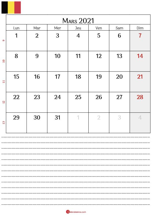 calendrier mars 2021 belgique_notesP