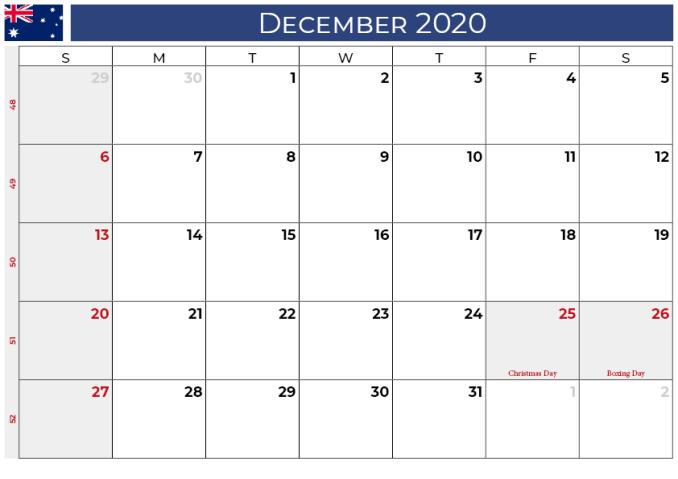 december 2020 calendar_australia