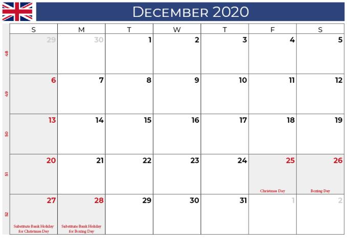 december 2020 calendar_uk