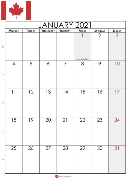 january calendar 2021 canada P