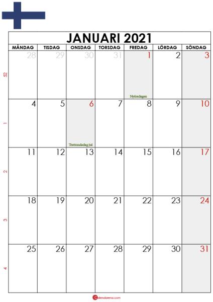 kalender 2021 januari finland