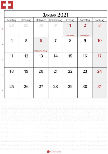 kalender januar 2021 Schweiz