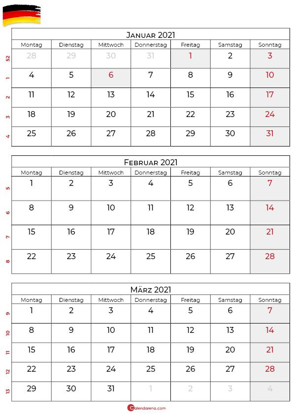 kalender januar februar märz 2021