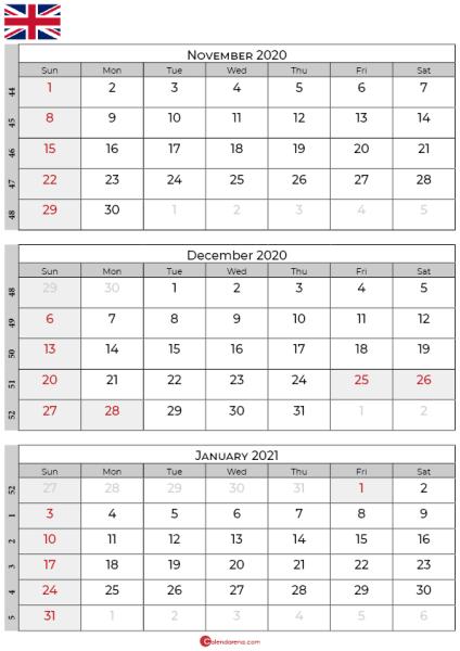 november december 2020 january calendar 2021 uk
