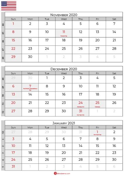 november december 2020 january calendar 2021 usa
