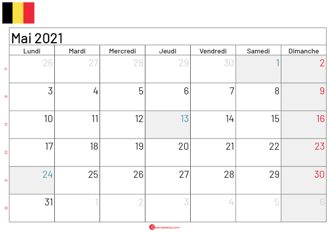 calendrier mai 2021 belgique