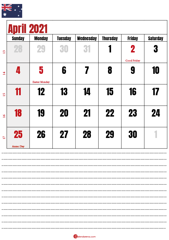 2021 april calendar AU
