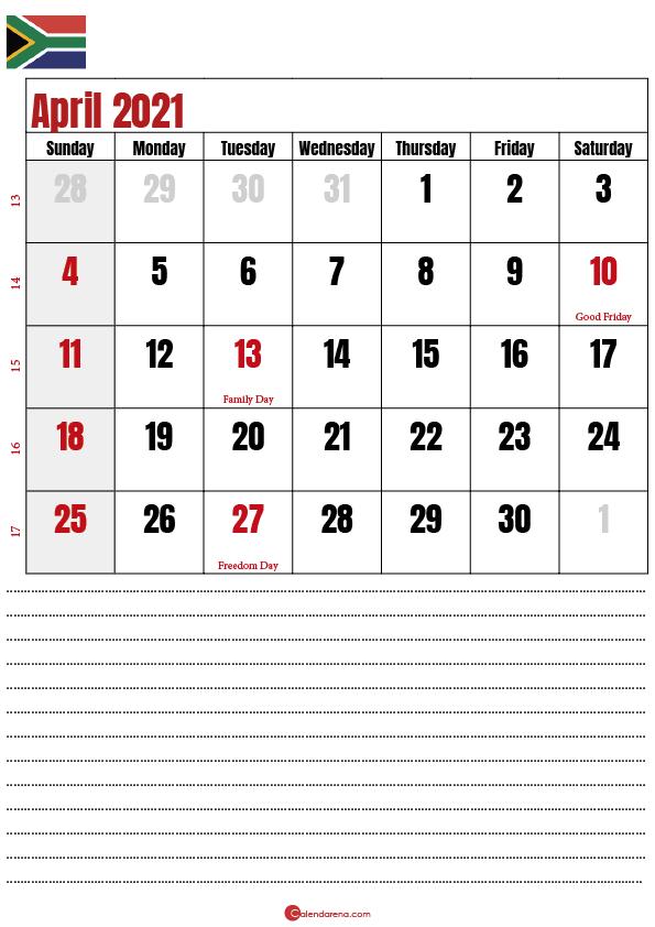 2021 april calendar notes SA