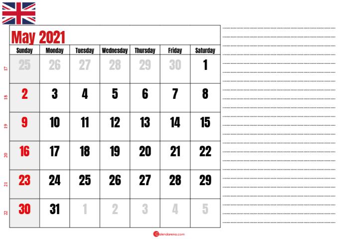 2021 may calendar notes UK