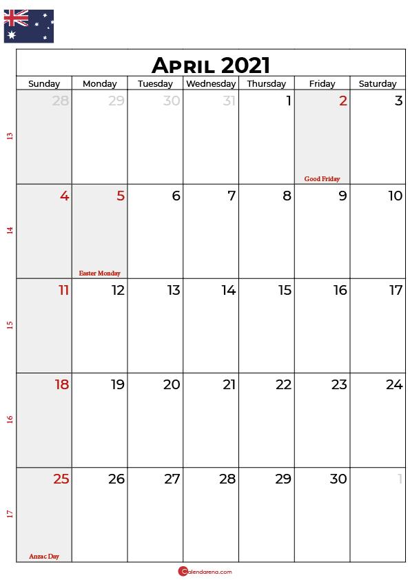 april 2021 calendar AU
