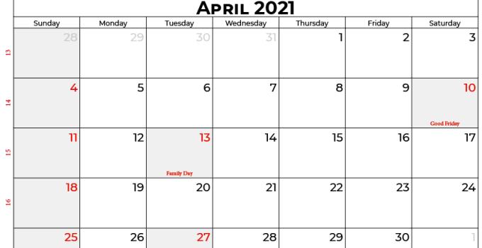 april 2021 calendar SA