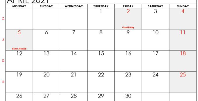 april 2021 calendar canada