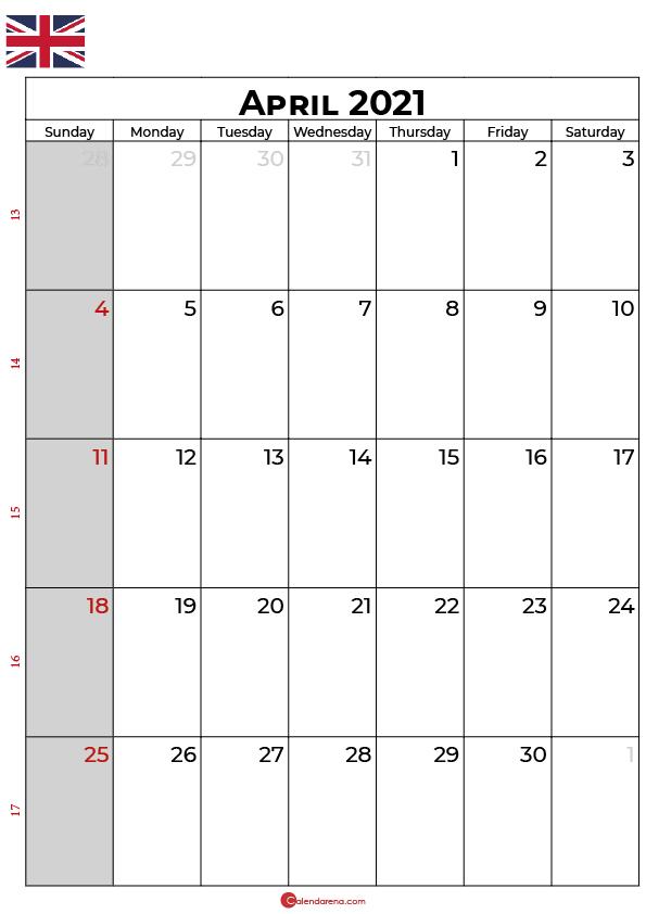 april 2021 calendar uk