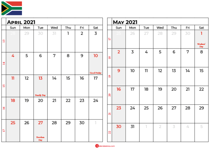 april and may 2021 calendar sa