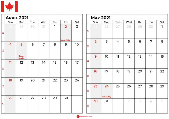 april may 2021 calendar canada