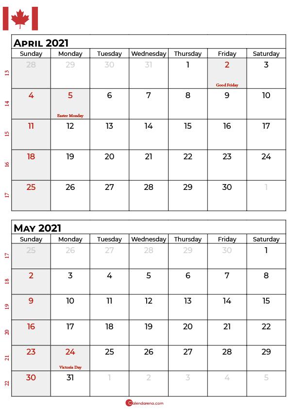 april may calendar 2021 canada