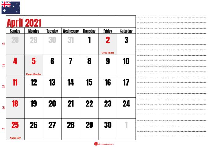 calendar 2021 april AU