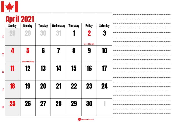 calendar 2021 april notes_canada
