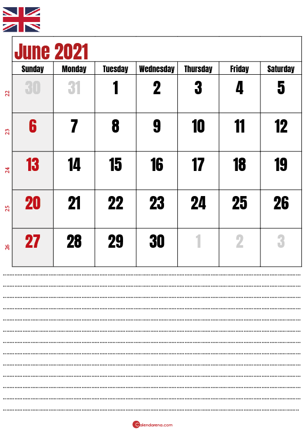 calendar 2021 june notes UK
