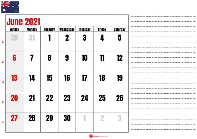calendar 2021 june