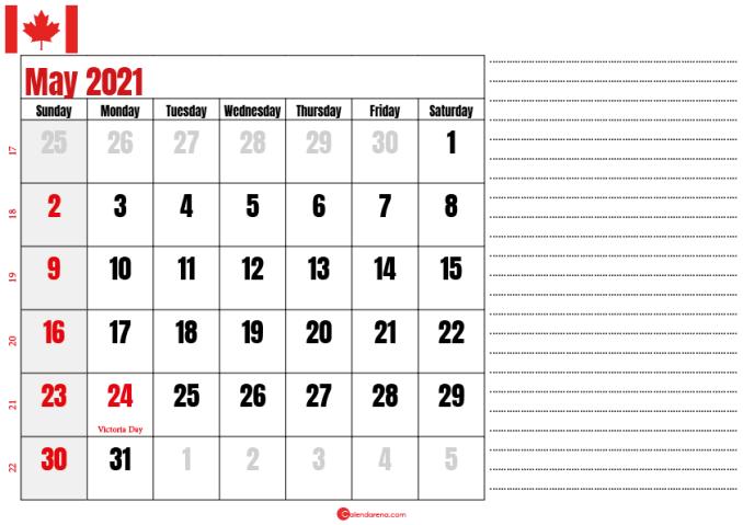calendar 2021 may notes_canada