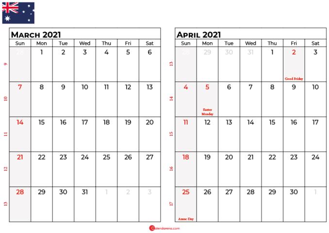 calendar march april 2021 AU