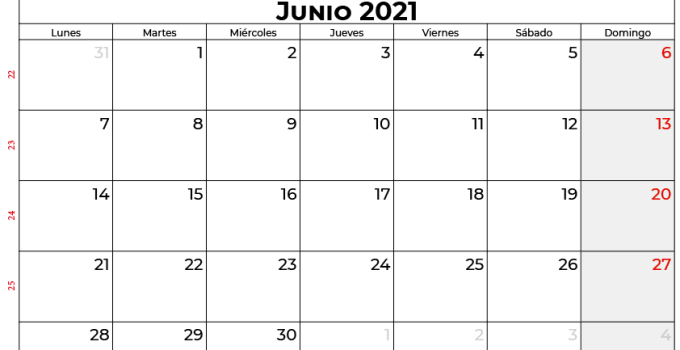 calendario 2021 junio mexico
