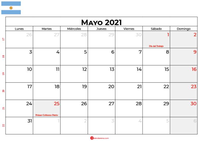 calendario 2021 mayo argentina