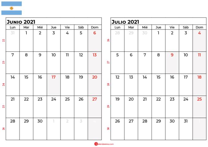 calendario junio julio 2021 argentina