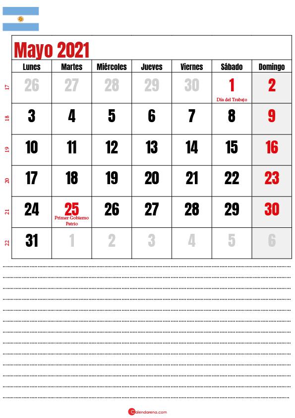 calendario mayo 2021 argentina notes