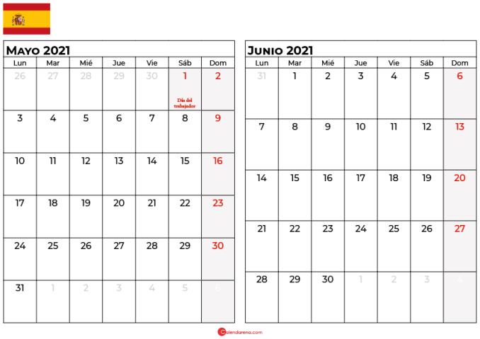 calendario mayo junio 2021 espana
