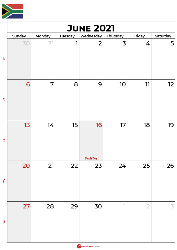 june calendar 2021 SA
