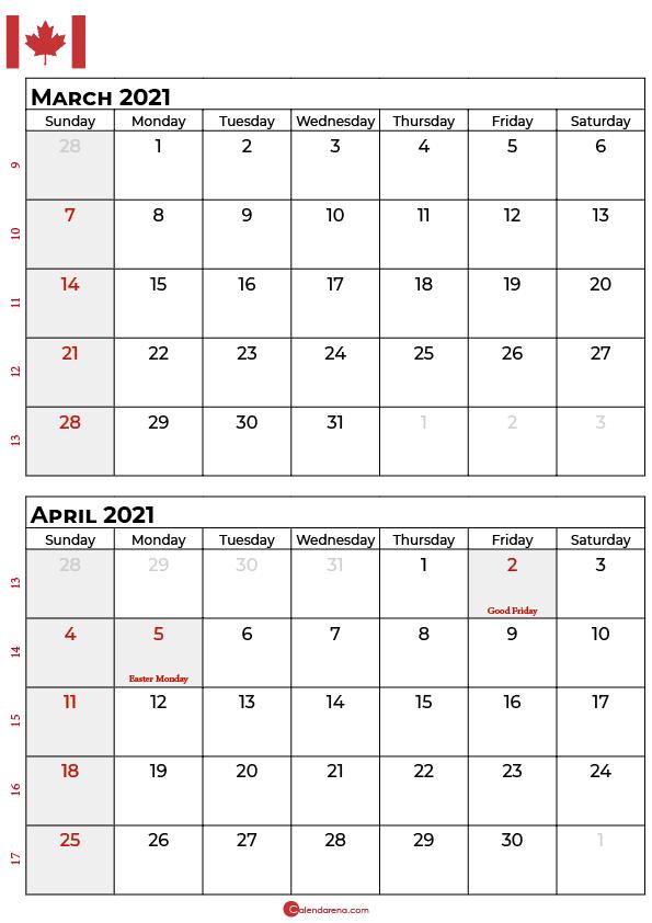 march april calendar 2021canada