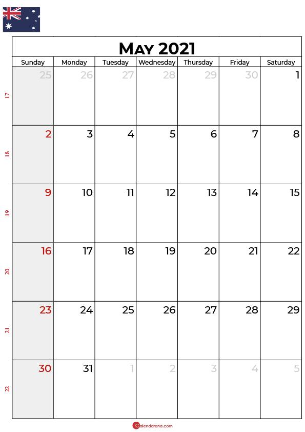 may 2021 calendar AU