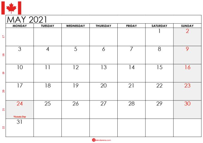 may 2021 calendar canada