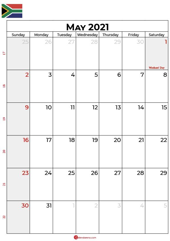 may calendar 2021 SA