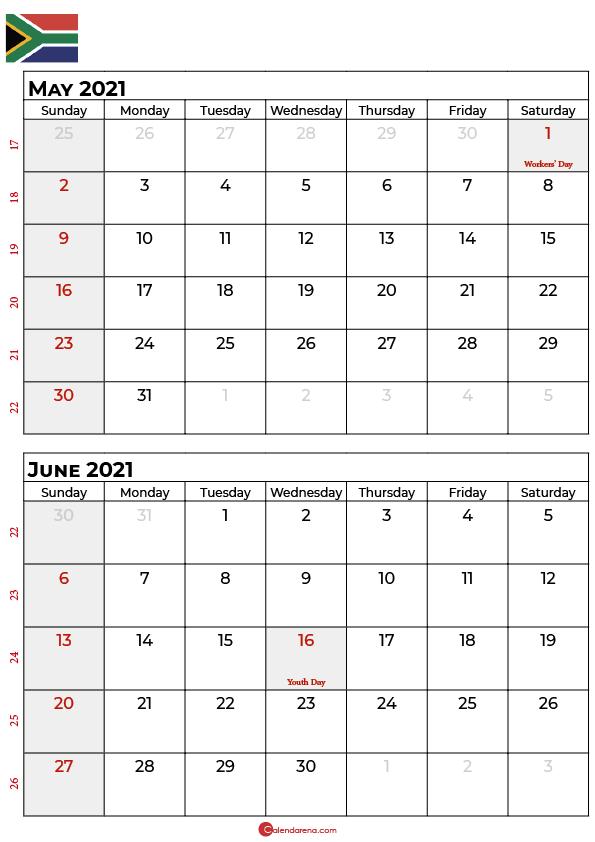 may june 2021 calendar sa
