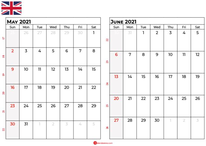 may june calendar 2021 UK