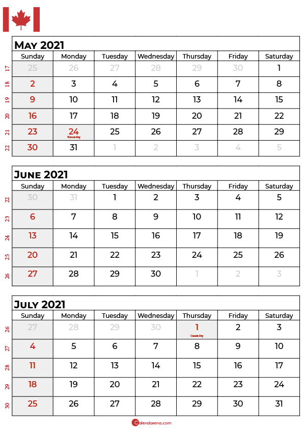 may june july 2021 calendar canada