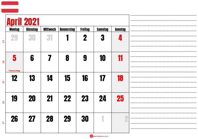 april kalender 2021 Österreich