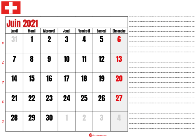 calendrier 2021 juin suisse