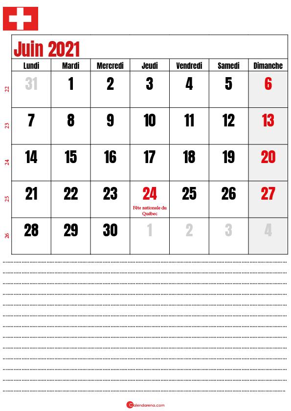 calendrier à imprimer juin 2021 suisse