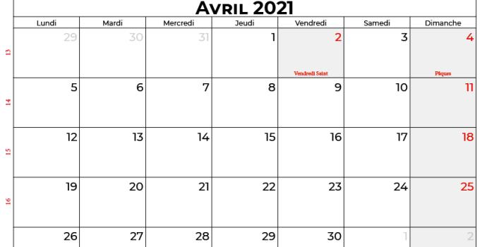 calendrier avril 2021 québec canada