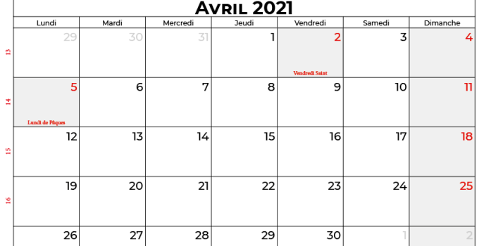 calendrier avril 2021 suisse