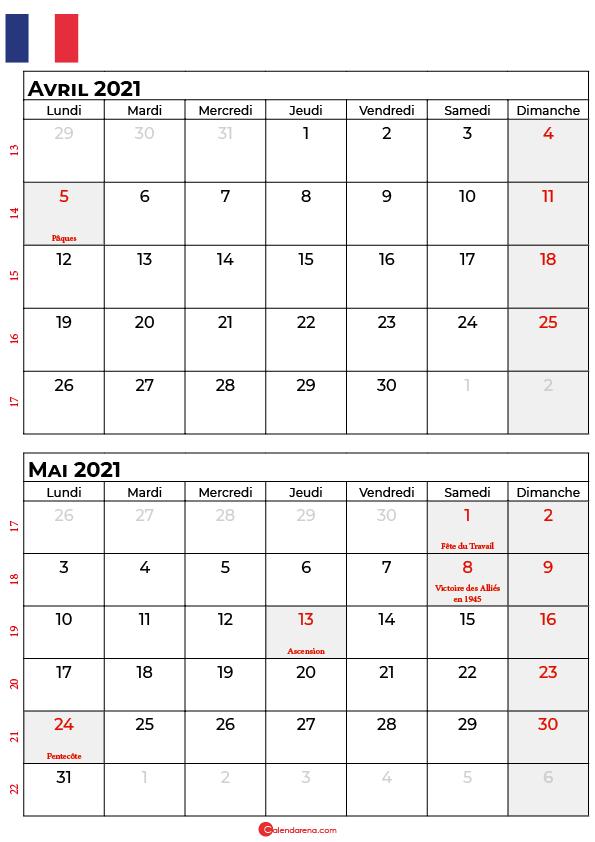 calendrier avril mai 2021 france
