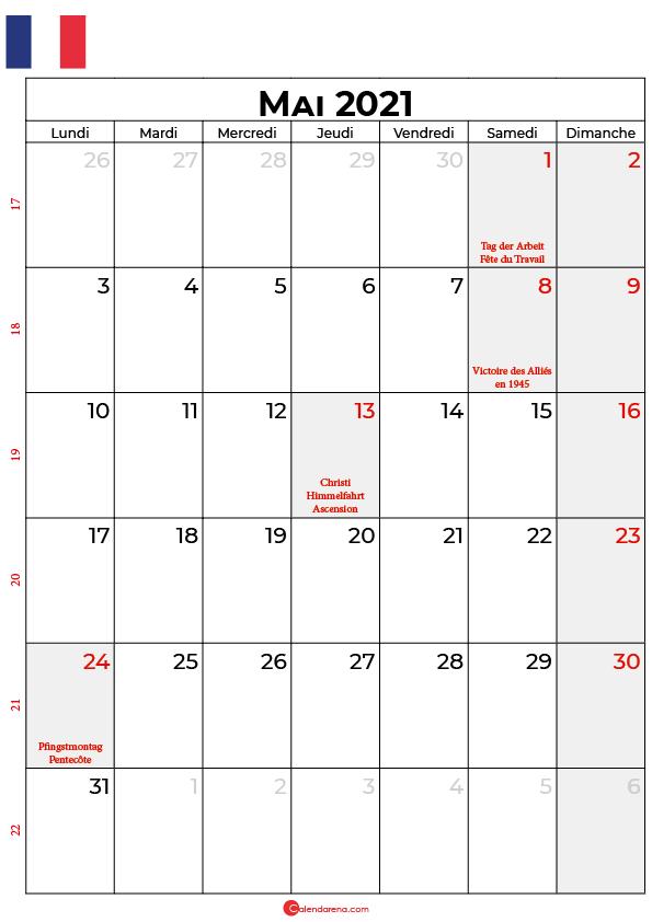 calendrier mai 2021 à imprimer france